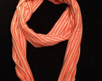 Orange and neon orange material infinity scarf