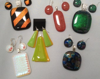 Fused Glass Pendant and Earring Surprise Package