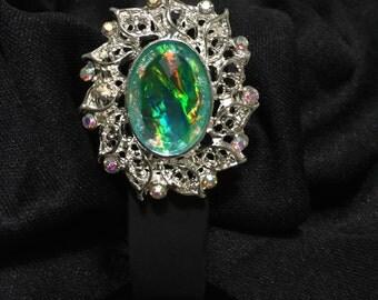 Iridescent Aquamarine Abalone & Rhinestone fitbit Flex or Charge Bling Bracelet Cover ** FREE SHIPPING within the U.S.**