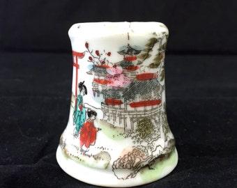 Small Hand Painted Japanese Salt Shaker, Asian Scene Shaker, Geisha and Pagoda Salt Shaker, Japanese Scene Shaker, Cork Bottom Porcelain
