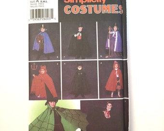 Simplicity Costume Pattern 5927 Vampire, Devil, Magician, Cape, Robe, Red Riding Hood, Halloween Costume