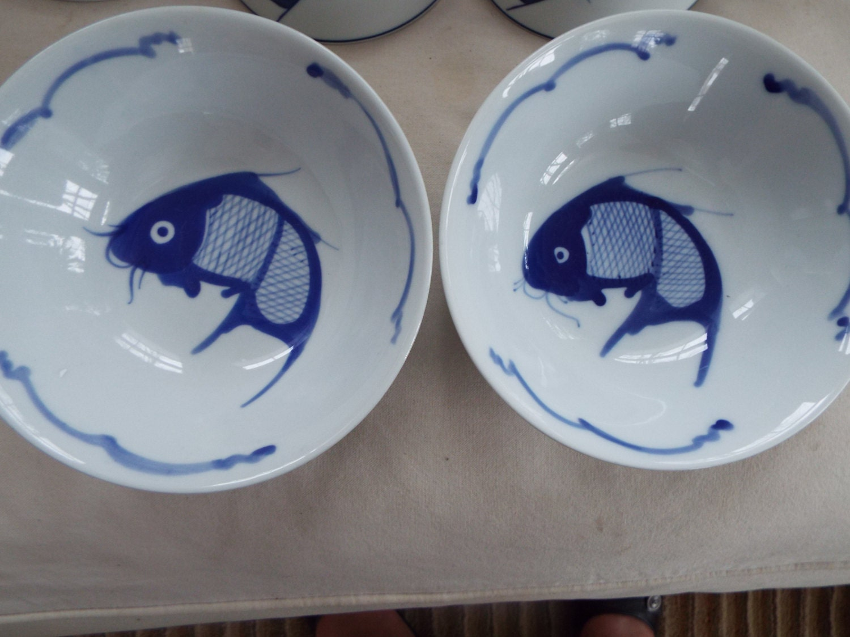 2 chinese blue white koi rice fish bowls jingdezhen for Koi fish bowl