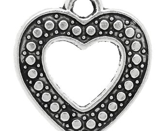 21mm Dotted Heart Charm