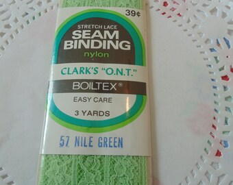 Vintage Lace Boiltex Stretch Lace Seam Binding Nile Green 3 Yards Vintage Sewing Notions