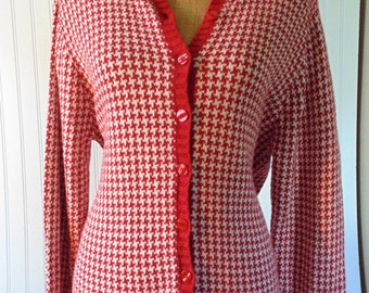 Women's Sweater XL Red Houndstooth Sweater Button Up Cardigan 1990's Sweater 90's Fashion 90's Clothing