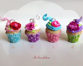 Delicious Rose Cupcake Charm Pendant Necklace, Polka dots Cupcake Mid Century Rockabilly Pin Up Retro Inspired, Lolita Jewelry by Milushka