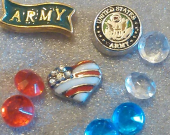 Military Floating Charm Sets Army - Navy - Air Force - Marines *FREE SHIPPING*