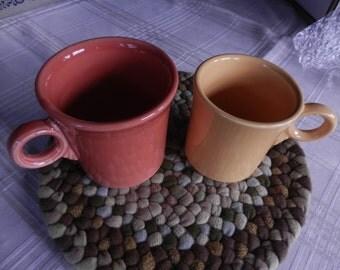 Two Fiesta Mugs - tangerine and gold