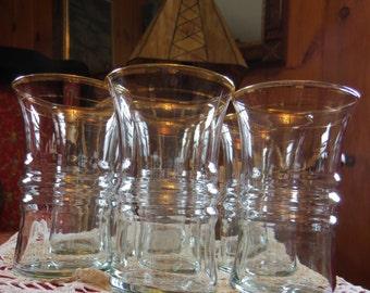 Gold Edged Water Glasses - set of 8 - unique - vintage 1950
