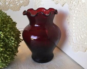 Ruby red flower vase