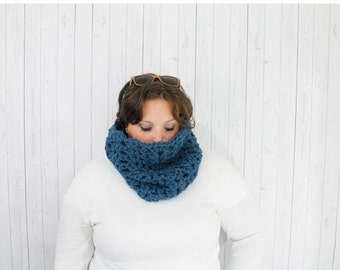 Back to School Sale The Maggie Crochet Chunky Cowl, Crochet Cowl,  Crochet Cowl Neckwarmer in Denim, Wool Blend