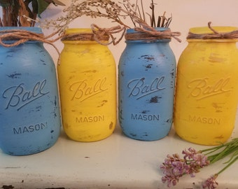 Distressed Mason Jar, Painted Mason Jar, Wedding, Baby Shower, Yellow and Blue