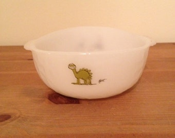 Vintage Anchor Hocking Fire King BC Comic Milk Glass Bowl Dinosaur Bowl
