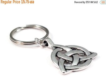 On Sale Celtic Knot Keychain Silver Triquetra Metal Key Ring