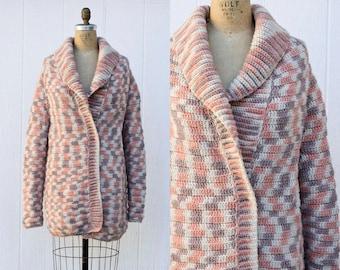 VINTAGE 1970s neapolitan chunky handknit cardigan sweater | Oversized sweater coat | Boho chunky cardigan | Peach shawl wrap cardigan