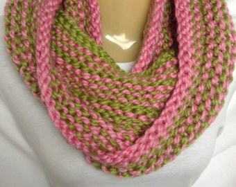 Scarf Infinity Scarf hand knit pink and green acrylic wool infinity circle mobius scarf-Ready to Ship