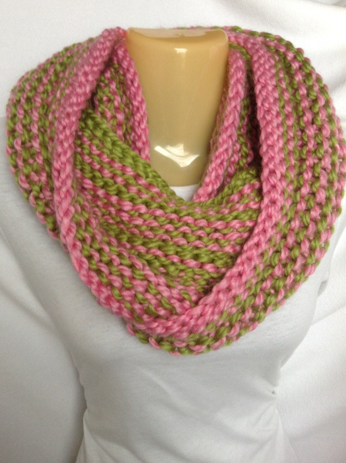 scarf infinity scarf knit pink and green acrylic wool