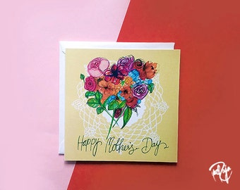 CLEARANCE -Floral Doily Mother's Day Card with White Envelope - Handmade in UK