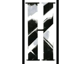 """Framed letterpress """"H"""""""