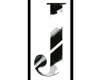 """Framed letterpress """"J"""""""