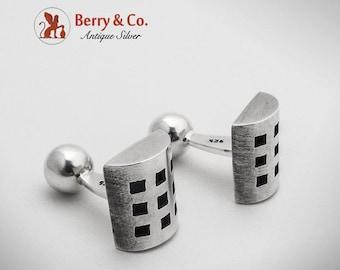 SaLe! sALe! Modernist Half Cylinder Cuff Links Sterling Silver