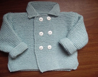 Hand knitted baby boys/girls double breasted jacket