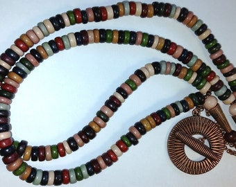 Colorful Earth Tone Rondelle Wooden Ethnic Beaded Necklace