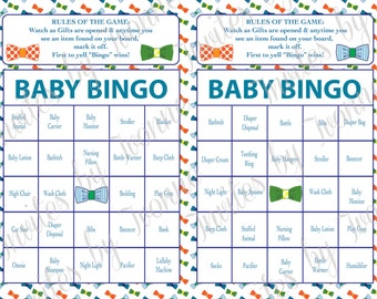 bow ties theme baby shower bingo game instant download boy or girl set of 40 cards