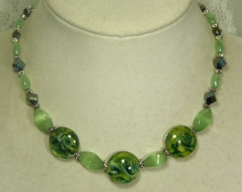 "Cynthia Lynn ""SPRING BLING"" Green Lamp Work, Metallic, and Glass Beaded Necklace"