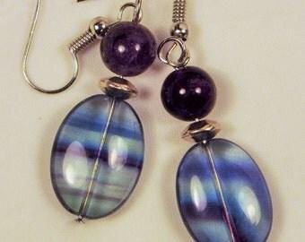 "Cynthia Lynn ""RAINBOW GEMS"" Green and Purple Rainbow Fluorite Beaded Silver Earrings 2 inches"