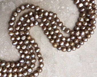 """Golden Taupe Freshwater Potato Pearls - 16"""" Strand 6-6.5mm Permanently Dyed Freshwater Potato Pearls, Lovely Brownish Taupe, Gold Overtones"""