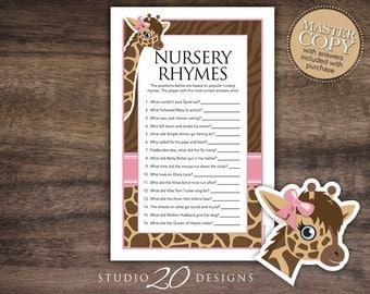 Instant Download Pink Giraffe Nursery Rhyme Quiz, Brown Pink Printable Giraffe Nursery Rhyme Game, Giraffe Theme Baby Shower Games #69A