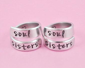 Soul Sisters - Hand Stamped Aluminum Spiral Wrap Ring Set, Sorority Sisters,  Best Friends BFF Friendship Jewelry, Besties Twist Rings