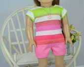 American Girl or 18 inch Doll TEE Top Blouse SHIRT  Pink Lime Green and White Stripes PG3 Shorts and Sandals Options with Surprise NECKLACE