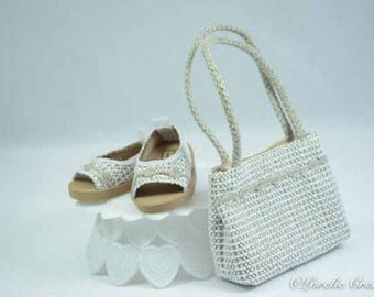American Girl or 18 Inch Doll SHOES Sandals Ballet Flats in LACY Look Vinyl in White and Beige with Trim and Matching PURSE Opt