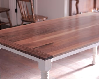 Classic Walnut Farmhouse Dining Table with Handturned Legs & Breadboard Ends