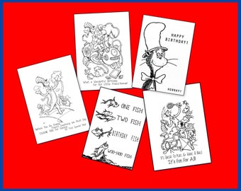 Doctor Seuss Coloring Book - Printable - Great For Party Favors or Gift - Cat in the Hat - One Fish Two Fish