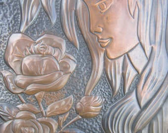 Copper Relief Hammered/Pressed Plaque of Girl Holding Flowers