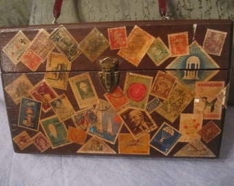Wooden Purse with Vintage Stamp Decoupage