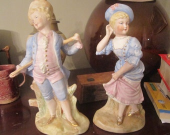 Set of 1920s Young Man and Woman Figurines
