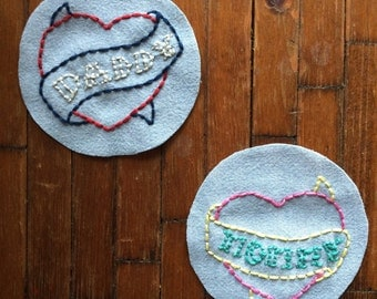 Custom Daddy / Mommy Tattoo Heart Embroidery Patch
