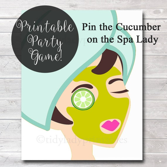 Pin The Cucumber On The Spa Lady Girls Party Game Spa Party
