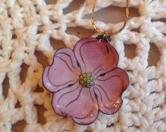 Vintage M Radcliff enamel on copper dogwood flower pendant necklace