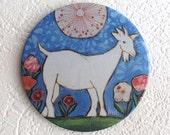 Aimant de réfrigérateur Chèvre illustration par Isabelle Malo