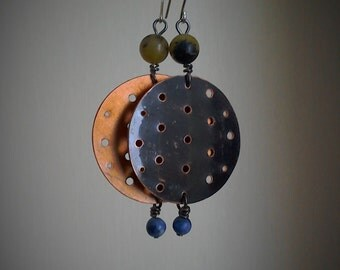Reclaimed copper ear-rings with Yellow Turquoise and Sodalite.x