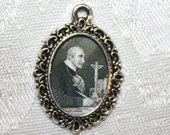 St. Alphonsus de Liguori/Medal to add to Rosaries/Bracelets/Necklaces/Zipper Pulls/Catholic Medal/Christian Medal/Bronze or Silver Charm