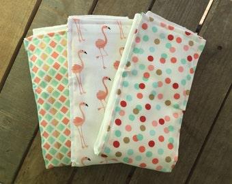 Set of Three Pink, Mint, Gold, and Red Flamingo, Diamond, Dots Burp Cloth