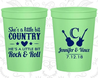 She's a Little Bit of Country, He's a little bit of Rock and Roll, Promotional Cups, Rock and Roll Wedding Cups, souvenir cups (467)