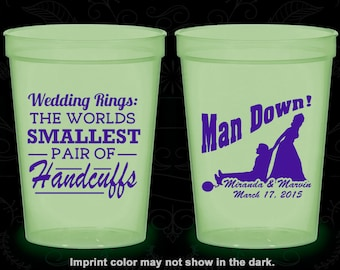 Wedding Rings, The Worlds Smallest Pair of Handcuffs, Cheap Glow in the Dark Cups, Ball and Chain, Handcuffs, Man Down (501)