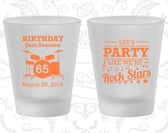 65th Birthday Frosted Shot Glasses, Rock Star Birthday, Rock Star Party, Birthday Frosted Shot Glass (20175)